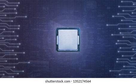 Central chip surrounded with microelectronic circuits and binary code.