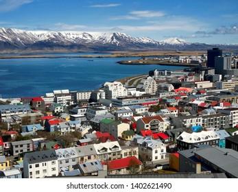 Central City View of Reykjavik, Iceland as seen from Hallgrímskirkja.
