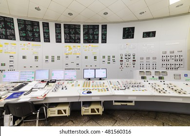 The central control room of nuclear power plant. Detail of the control panel pumping equipment.