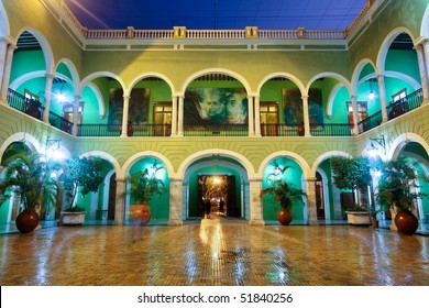 Central Courtyard of the Governors Building at night, Merida, Yucatan, Mexico