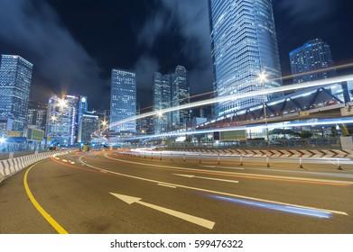 Central district of Hong Kong city at night