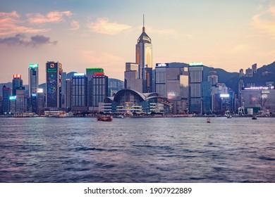 Central District, Hong Kong - December 09, 2016: Evening view of Hong Kong harbour.