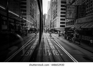 Central District, Hong Kong - July 06, 2016 : Traveling in Central District by Tram at After Work