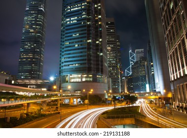 Central District Hong Kong - June 2014 : The skyscrapers at night in Central Hong Kong. A main business district many international financial services and headquarters here