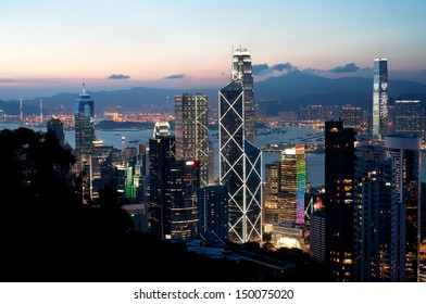 Central district skyscrapers at sunset, Hong Kong Island