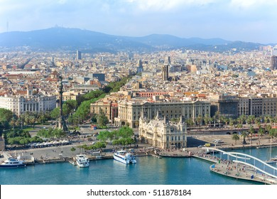 Central embankment of Barcelona with Columbus statue, La Rambla street and promenade, Spain