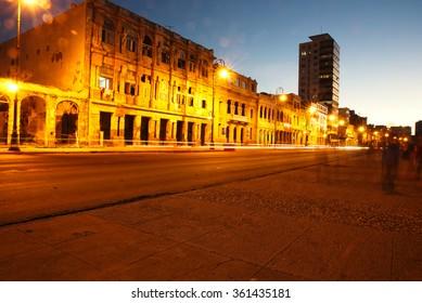 Central embankment Havana at sunset
