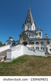 The Central entrance of St. Vladimir's skete. The wonderful island Valaam is located on Lake Lodozhskoye, Karelia. Balaam - a step to heaven