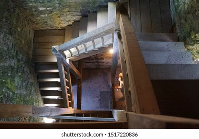 Central Falls, RI/USA- September 28, 2019: A horizontal image of the interior stairwell of the 70-foot historic Cogswell Tower.