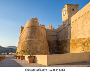 The central fortress wall in Victoria town. Gozo, Malta