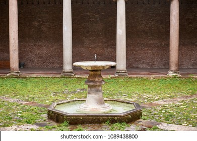 central fountain in the cloister of a church