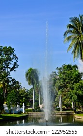 Central fountain pool in the park, Chiangmai, Thailand.