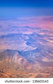 central Fuerteventura from the air, village of Tetir