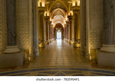 The central gallery of the Monserrate Palace, an exotic palatial villa located near Sintra, Portugal