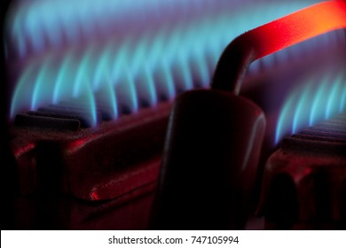Central gas heating close up