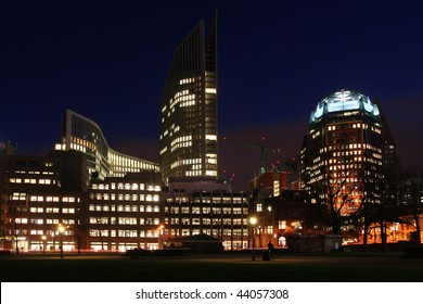 Central The Hague office buildings and Ministries in late evening, Holland
