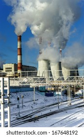 Central Heating and Power Plant. Cold winter day.