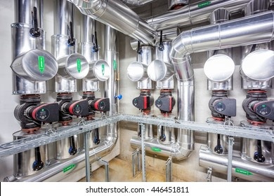 central heating system in the basement of an large building