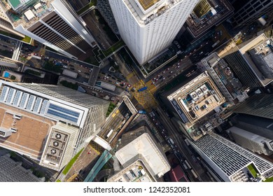 Central, Hong Kong 01 November 2018:- Top view of Hong Kong traffic