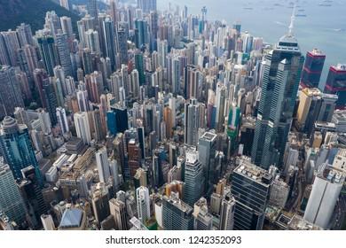 Central, Hong Kong 01 November 2018:- Hong Kong business office tower from top