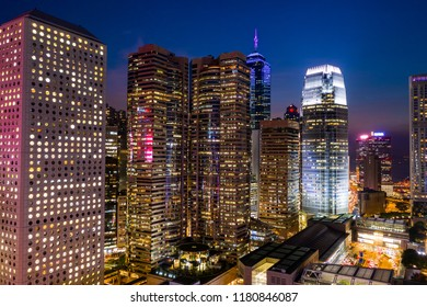 Central, Hong Kong 11 September 2018:- Business district of Hong Kong at night