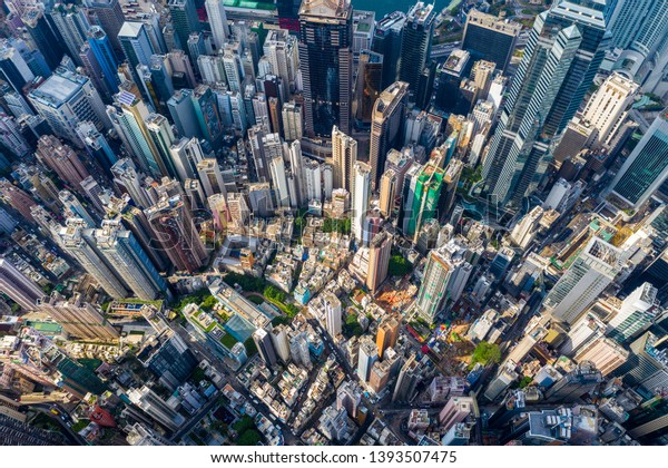 Central, Hong Kong 29 April 2019: Top down view of Hong Kong city
