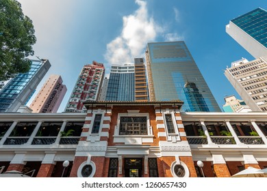 Central, Hong Kong - 30 Sep 2018: Tai Kwun, the former Central Police Station Compound, made of three declared monuments, includes Police Station, Central Magistracy and Prison. - Image