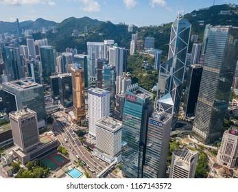 Central, Hong Kong 31 May 2018:- Top view of Hong Kong business district