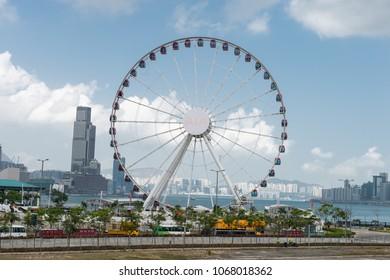 Central, Hong Kong - CIRCA April,2018:   The Hong Kong Observation Wheel at the New Central Harborfront, Central District, Hong Kong.