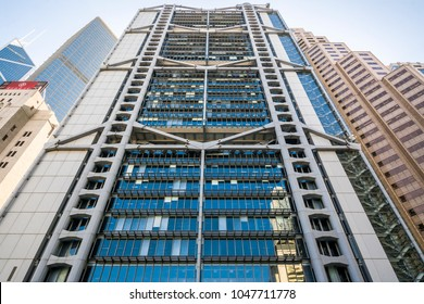 CENTRAL, HONG KONG - DEC 20, 2017: North side of HSBC Main Building, which is the headquarter of HSBC and designed by Norman Foster. Its exterior truss structure is an iconic design.