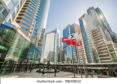 CENTRAL, HONG KONG - DEC 21, 2017: The Forum (podium level) of Exchange Square with skyscrapers in the background. It houses numerous financial institution and the Hong Kong Stock Exchange