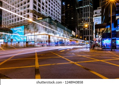 Central, Hong Kong  - November 30, 2018 : Hong Kong Central Business District at Night with Light Track
