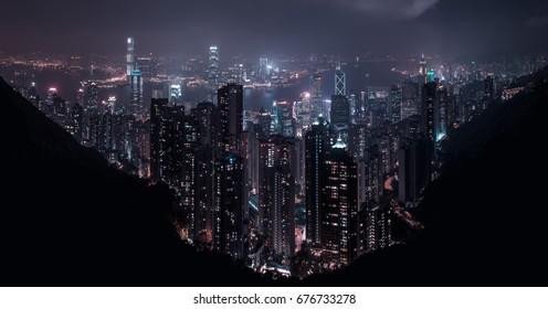 Central Hong Kong seen from Victoria Peak at night