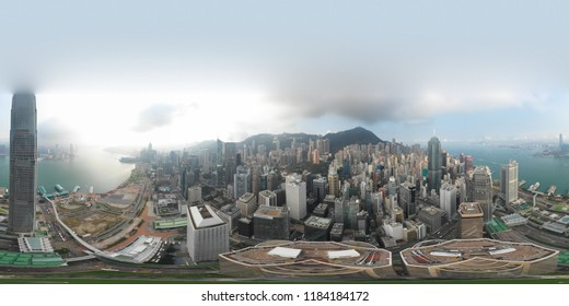 Central, Hong Kong - September 20, 2018 : 360 Panorama image of Central district in Hong Kong on day time.