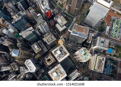 Central, Hong Kong-01 November 2018: Aerial of Hong Kong city