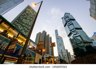 Central, Hong Kong-Nov 4th, 2016: Low angle view of Hong Kong skyscrapers at Central business district in Hong Kong island.