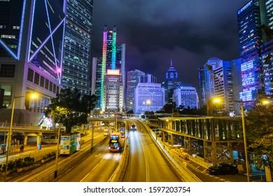 Central, Hongkong, December 2018, Night view of skyscraper in central Hongkong