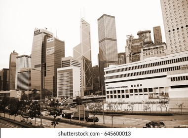 CENTRAL, HONGKONG - FEB, 26: The modern and famous tower building scene around ifc mall building represent hongkong business area on February 26, 2017 in Central, Hongkong.
