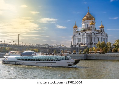 Central Moscow Cathedral  on the Moscow river and excursion boat