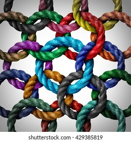 Central networking and network connection business concept as a group of diverse circle ropes connected to a rope loop as a metaphor for connectivity and linking to a centralized support structure.