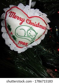 Central NJ/USA - December 21, 2019:  A Merry Christmas cat Christmas ornament from 1985.