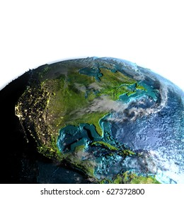 Central and North America on model of planet Earth at dawn. 3D illustration with white background. Elements of this image furnished by NASA.