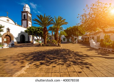 Central old square with San Gines church in Arrecife city on Lanzarote island in Spain