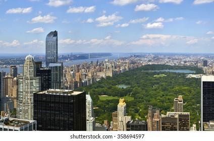 Central Park aerial view, Manhattan, New York, high quality panorama