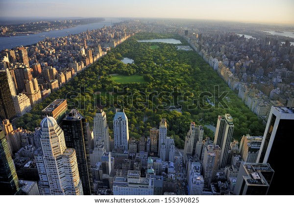 Central Park aerial view, Manhattan, New York; Park is surrounded by skyscraper