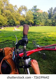 Central Park bike break with a foot