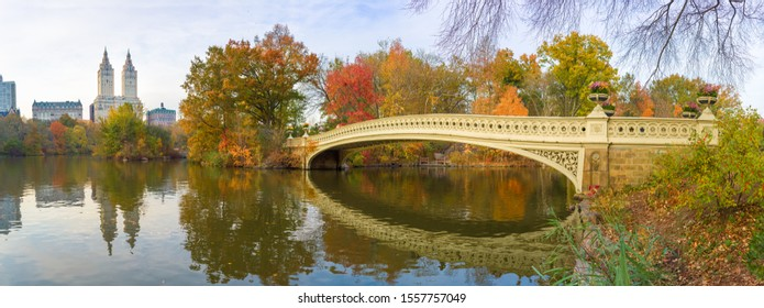 Central Park Bow Bridge fall foliage in New York City
