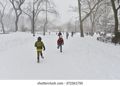 Central Park during a snow storm