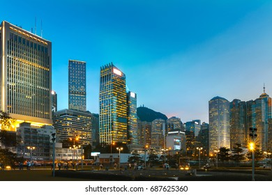 Central park of Hong Kong at night