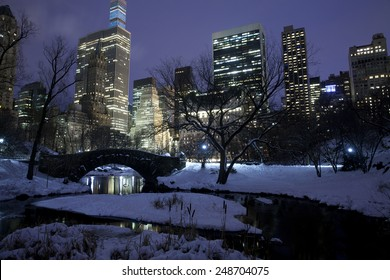 Central park with Manhattan buildings at the background in New York City.  Snow day at winter.